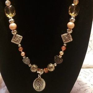 Women's fashion necklace in orange and silver